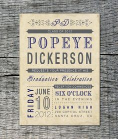 Vintage Graduation Invitation  Old Fashioned by differentdesigns10, $25.00