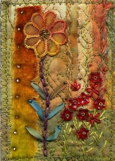 Hot garden by Molly Jean Henson aka Molly Jean Hobbit! crazy quilting: Hot garden by molly jean hobbit Great combination of dyed fabric, ribbon work, embroidery and quilting Ribbon Embroidery, Embroidery Art, Embroidery Stitches, Machine Embroidery, Embroidery Bracelets, Fabric Art, Fabric Crafts, Sewing Crafts, Fabric Books