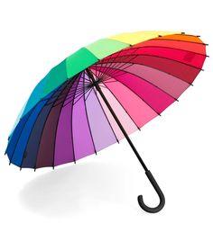 COLOR WHEEL STICK UMBRELLA | Rainbow, Cane, Handle | UncommonGoods