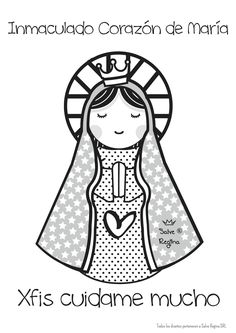 Inmaculado corazón de María. Dot Painting, Stone Painting, Virgin Mary Art, Hand Quilting Patterns, Catholic Crafts, Catholic Religion, Holy Mary, Pallet Art, Pictures To Draw