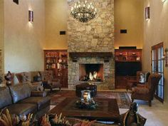 Stone fireplace in library