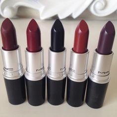 lipstick-lust: L-R: Sin, Diva, Hautecore, Paramount, and Smoked Purple