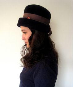 1960s BRIGHT PEAKS Navy Blue Felted Wool Hat by LolaVintage on Etsy.