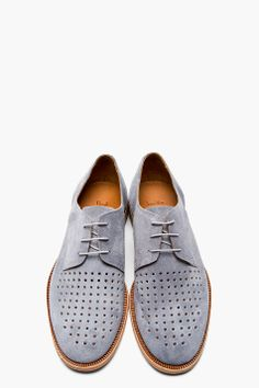 PAUL SMITH  Grey suede perforated FRANK CITY Derbys, Men's Spring Summer Fashion.