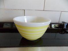 Vintage Pyrex #401 Yellow Stripe 1.5 Pint Small Mixing Bowl