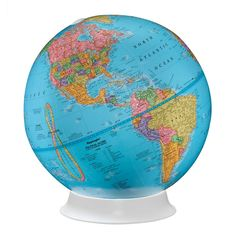 This basic globe has a ball with a political map, blue ocean color and a functional, easy-to-view plastic stand. Free mount globe with blue map color. Style # at Lamps Plus. Apollo 9, Kids Globe, Desk Globe, World Globes, Map Shop, Futuristic Architecture, Study Materials, Held, Cartography