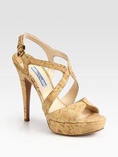 LOVE this shoe! Cork Multi-Strap Platform Sandal by Prada. Cork Sandals, Shoes Sandals, Strappy Heels, High Heels, Spring Sandals, Expensive Shoes, Black Cross Body Bag, Leather Design, Pointed Toe Pumps