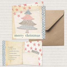Studio Deksels - Kerstkaart - Merry Christmas - Christmas Card - kraft - recycling paper - kerstboom - Christmas tree