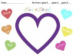 Free printable to go along with the Conversation Heart Stack Game.