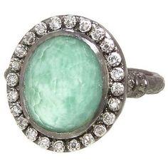 Emily Armenta Rings- New World Oval Green Turquoise/Quartz Ring via RingOBlog.com! #rings