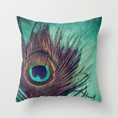 Peacock Dream Feather Throw Pillow by KunstFabrik_StaticMovement Manu Jobst - $20.00