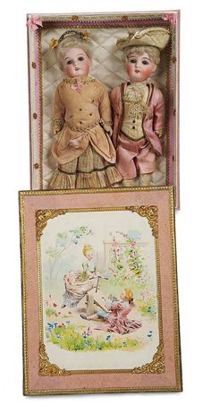 """Lot: 159. Pair,All-Original German Bisque Dolls by Kuhnlenz for the French Market 8"""""""