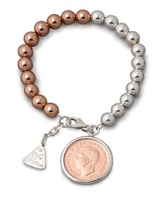 VT Two Tone Coin Bracelet - Shop our jewellery store in Port Fairy - Victoria, Australia. Coin Jewelry, Rose Gold Jewelry, Sterling Silver Jewelry, Jewelry Gifts, Jewelry Accessories, Gold Jewellery, Cheap Silver Rings, Silver Rings With Stones, Silver Bracelets