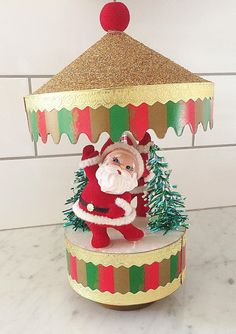 Nick Christmas Tree Ornament Happy Holidays Pipe Cleaner  and Celluloid St Fabulous Near Mint Condition Vintage Paper Mache