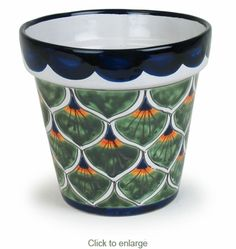 This beautiful medium size Talavera flower pot with peacock pattern will add a splash of color and Mexican flair to your garden, patio or any room in your home. Aquaponics Kit, Hydroponic Gardening, Hydroponics, Painted Pots, Hand Painted, Terrarium Cactus, Mexican Garden, Talavera Pottery, Peacock Pattern