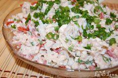 Cauliflower and tomato salad -Salata de conopida cu rosii Tomato Salad, No Cook Meals, Feta, Cauliflower, Grains, Food And Drink, Rice, Cheese, Dishes