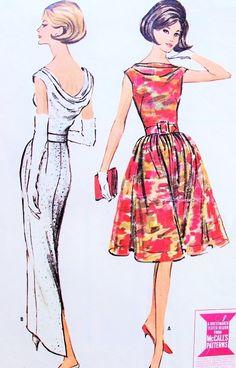 1960s STUNNING Evening Dress Pattern McCALLS 7052 Slim or Full Skirt Versions Eye Catching Low Bias Draped Cowl Back Draped Bateau Neckline Ultra Classy Bust 34 Vintage Sewing Pattern