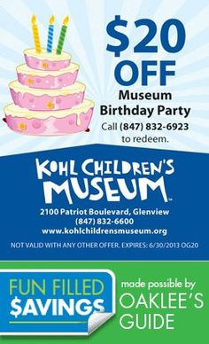 Party On, kids!  $20 off at Kohl's Children's Museum Local Coupons, Saving Money, Children's Museum, Birthday, Party, Fun, Kids, Young Children, Birthdays
