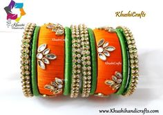 Silk Thread Bangles in Green and Orange! Silk Thread Bangles Design, Silk Bangles, Silk Thread Earrings, Bridal Bangles, Diy Fabric Jewellery, Thread Jewellery, French Knot Embroidery, Hand Work Embroidery, Ankle Jewelry
