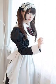 How can I service you goshujin-sama? Maid Outfit Cosplay, Cosplay Girls, Asian Woman, Asian Girl, Victorian Maid, French Maid Dress, Lolita Mode, Maid Uniform, Lolita Dress