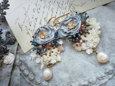 Romantic Tattered Textile Earrings Shabby French by PintOfTint