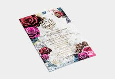 Whimsical Wedding Invitation / Floral Collage and Gold Foil / Blush & Fuchsia / Bliss & Bone