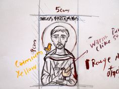 First drawing for St Francis of Assisi- tracing icon resources
