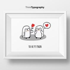 You are my penguin poster, polygonal, geometric, geometrical art, art print, wall art, home decor, illustration, animal wall art, love, draw by ThinkTypography on Etsy