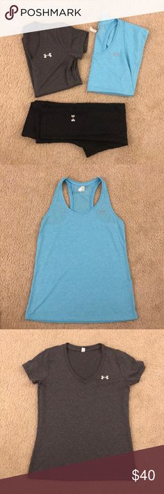 XS/S Under Armour Workout Bundle XS blue tank top, XS grey t-shirt and S calf length leggings with subtle pattern. The shirts are relaxed fit and will fit XS and S. All in excellent condition. Under Armour Tops