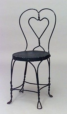 19 Outdoor Victorian painted wire side chairs with heart shaped back (PRICED EAC