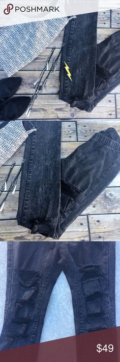 Distressed legging jeans Distressed super comfy high waisted Cello legging jeans. Thick like jeans hugging the body like leggings high waisted distressed jeans. Size M cello  Jeans