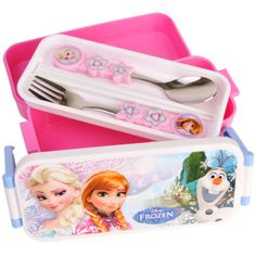 Cute-Disney-FROZEN-Lunch-Box-Kids-Girl-School-Bento-W-Chopsticks-Food-Container