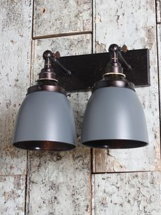 Grey and bronze twin wall light