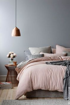 Wonderful Tips: House Interior Painting White living room paintings with wood trim.Bedroom Paintings Geometric interior painting tips thoughts.Interior Painting Tips People. Dream Bedroom, Home Bedroom, Master Bedrooms, Grey Bedroom Walls, Blush Pink And Grey Bedroom, Dusty Pink Bedding, Blush Bedroom Decor, Dove Grey Bedroom, Copper Bedroom Decor