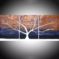"Tree of Light triptych 3 piece original panel wall art 3 panel triptych violet purple gold metallic canvas wall life 48 x 20 "" Mixed-media painting by Stuart Wright"