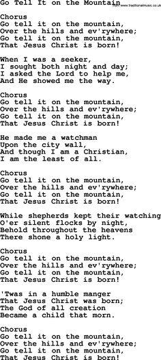 Baptist Hymnal Hymn: Go Tell It On The Mountain, lyrics with pdf