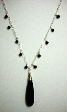 SIMPLE Black Necklace and Earring Set by StarBurstJewels on Etsy, $55.00