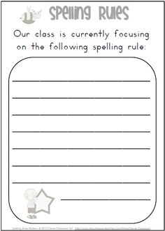 This file includes 35 x full-page spelling rules posters.$  In your file you also have a spelling rules poster, a poster saying; Our Class is Currently Focusing on the Following Spelling Rule: .... You also have a blank polka-dot background to laminate and mount the rule that you are focusing on.