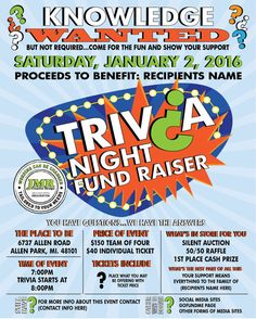 Trivia Night Fundraiser Flyer Benefit Flyer by JMRCreativeDesign