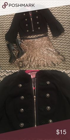Military Crop Top/Jacket NWOT military style crop top, or wear it as a jacket. Features muted silver hardware and bubble bell sleeves. Forever 21 Tops Crop Tops