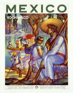 mexico travel poster Xochimilco