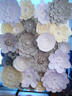 DIY Paper Flower Backdrop Ivory Grey White by DreamEventsinPaper