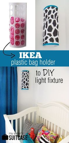 DIY light fixture from an IKEA plastic bag holder {tutorial} from www.mysisterssuitcaseblog.com  #upcycle #ikea #diy