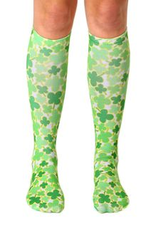 Beige With Large Paisley /& Clover Socks Knee High Socks