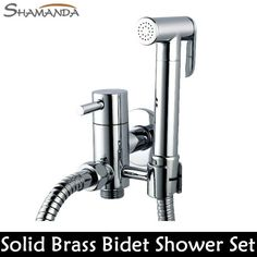 Solid Brass Chrome Handheld Bidet Toilet Portable Bidet Shower Set W/ Brass Bidet Faucet 1.5M Hose22650