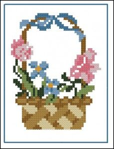 "Free cross-stitch pattern for beginners ""Basket with flowers"""