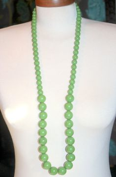 Green Beaded Lucite Necklace Green Necklace by AntiqueAlchemyShop, $15.00