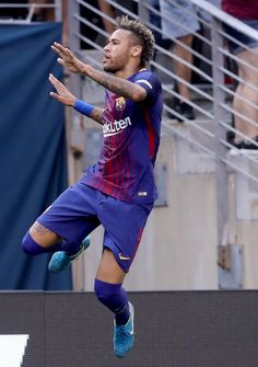 Neymar Photos Photos - Neymar #11 of Barcelona celebrates his goal in the first half against Juventus during the International Champions Cup 2017  on July 22, 2017 at MetLife Stadium in East Rutherford, New Jersey. - International Champions Cup 2017 - Juventus v FC Barcelona