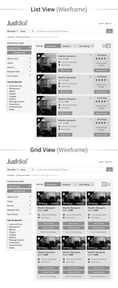 Justdial concept wireframe design.