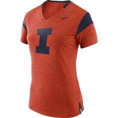 Nike Women's Illinois Fighting Illini Orange/Blue Fan V-Neck T-Shirt, Size: Medium, Team